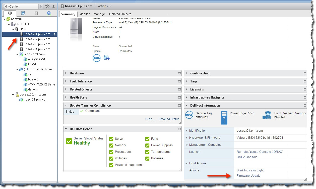 Updating Dell firmware using OpenManage in vCenter – Notes