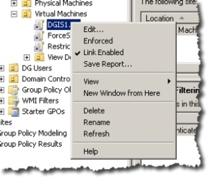 Right Click menu on a GPO object