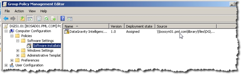 Our GPO object now has a Software Package to install