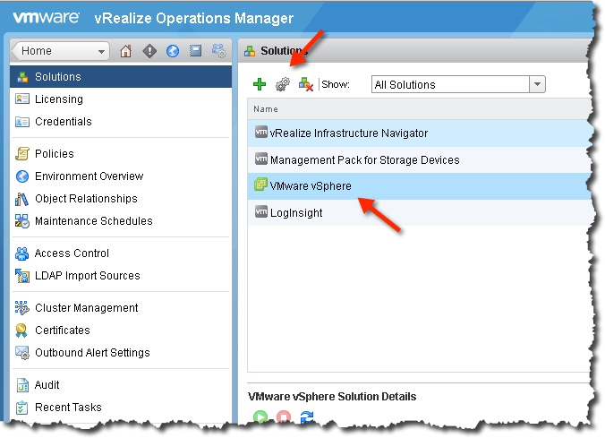 Configure the vSphere adapter
