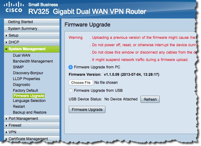 Install and configure of the Cisco RV325 Firewall – Notes