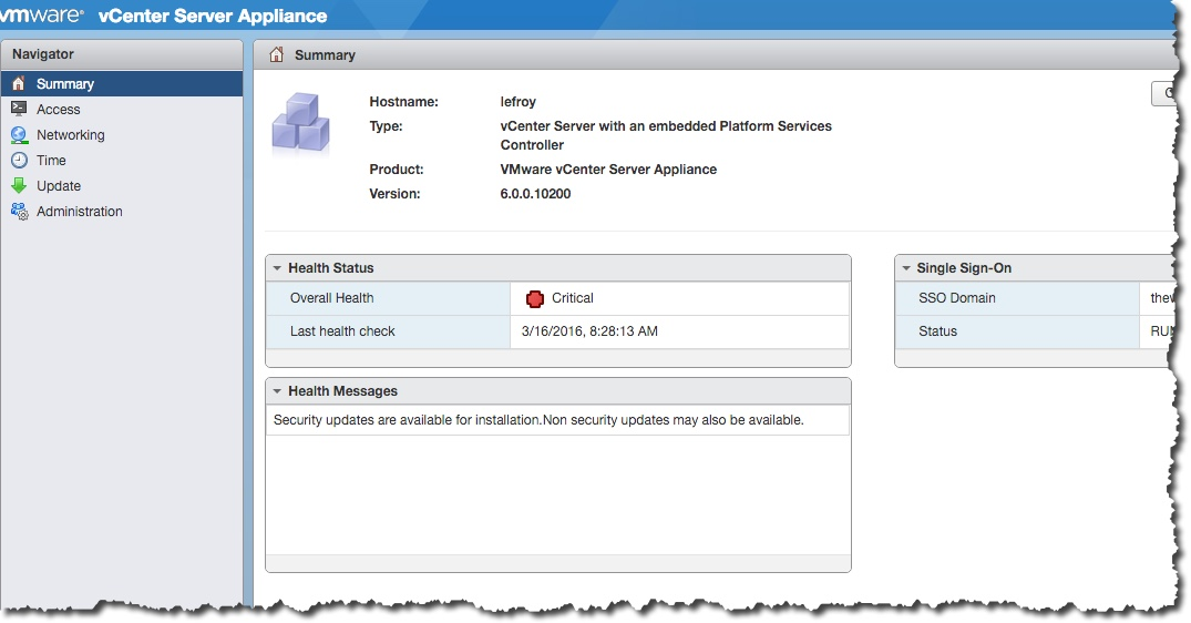 Why is my vCenter Appliance Health Red? – Notes from MWhite
