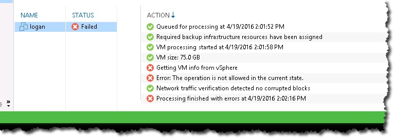 Veeam backup failed – the operation is not allowed in the