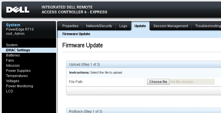 No software bundles visible when using Firmware Update