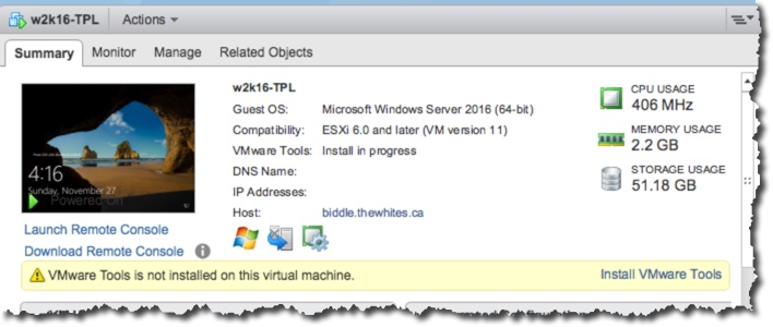 VMware Tools Not Installed on Windows 2016, but …   – Notes